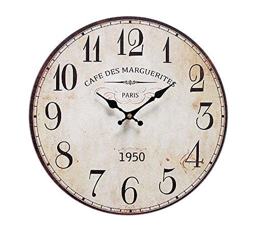 zeitzone Wanduhr Cafe des Marguerites Bistro-Stil 34cm