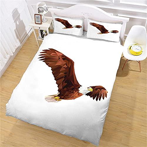 WJYMJJ Funda de edredón Águila Volando 200 x 200 cm (para Cama de 135) súper Suave Juego de Cama con Cierre de Cremallera para decoración de Ropa de Cama de niños