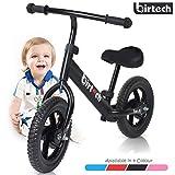 Dresiennes Enfant 1 2 3 Ans 12 Pouces Kids Bike Balance Bike Sport Bike avec Cadre en Acier, Guidon réglable et siège pour Enfants, Noir