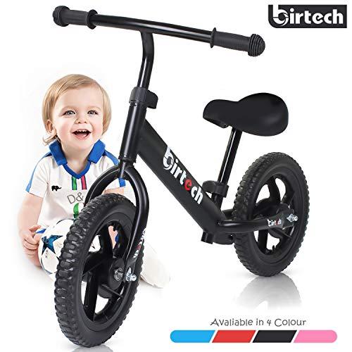 Birtech Laufrad Kinder ab 1 2 3 4 Jahre Balance Fahrrad 12 Zoll Kinderrad Lauffahrrad Sport Fahrrad mit Stahlrahmen, Verstellbarer Lenker & Sitz für Kinder,Schwarz