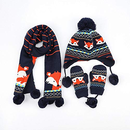Jamkf Herfst en Winter Plus Fluffy Children's Hat Earmuffs Sjaal Handschoenen baby Dikke warme muts Blue Suit