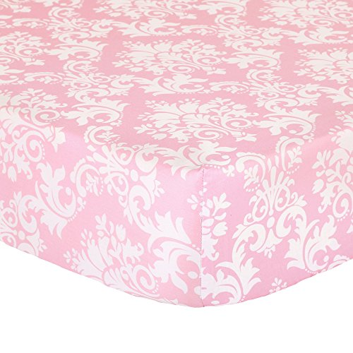 Pink Fitted Crib Sheet for Baby Girl - 100% Cotton by The Peanut Shell