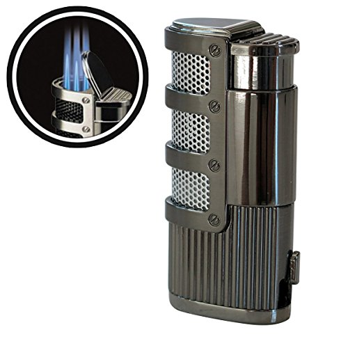 Prestige Import Group - Supernova Triple Jet Flame Torch Windproof Lighter with Punch Cutter Tool - Color: Gun Metal
