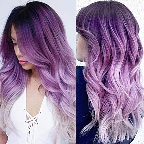 Wiwige Long Curly Wavy Ombre Purple Wigs for Women Synthetic Natural Middle Part Daily Party Halloween Cosplay Wig