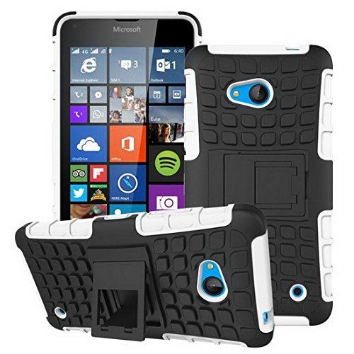 Microsoft Lumia 640 5.0Hard Bramp Hybrid Rubber Bumper Flip Stand Rugged Volver Funda de la Caja