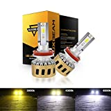 Auxbeam H11 Led Fog Light Bulbs F-TC Series 50W 5000lm 6000K/4300K/3000K Adjustable Color Temperature COB Chips Single Beam Conversion Kits