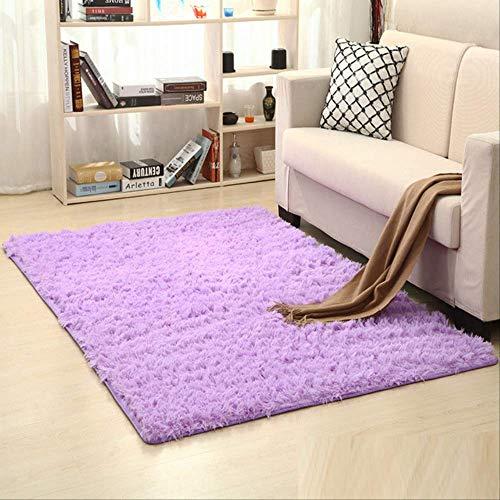 AINIYUE Flauschige Kunstpelz Teppich Für Wohnzimmer, Weiche Schaffell Bereich Teppich Anti-rutsch-Yoga Matte Schlafzimmer Boden Sofa Shaggy Silky Plüsch Teppich Bettteppich Teppiche 160x200CM Lila