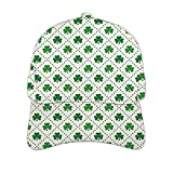 Irish,Unisex Hip Hop Baseball Cap Flat Bill Brim Dad Hats Four Leaf Shamrock Clover Flowers with Dotted Dashed Lines NAT