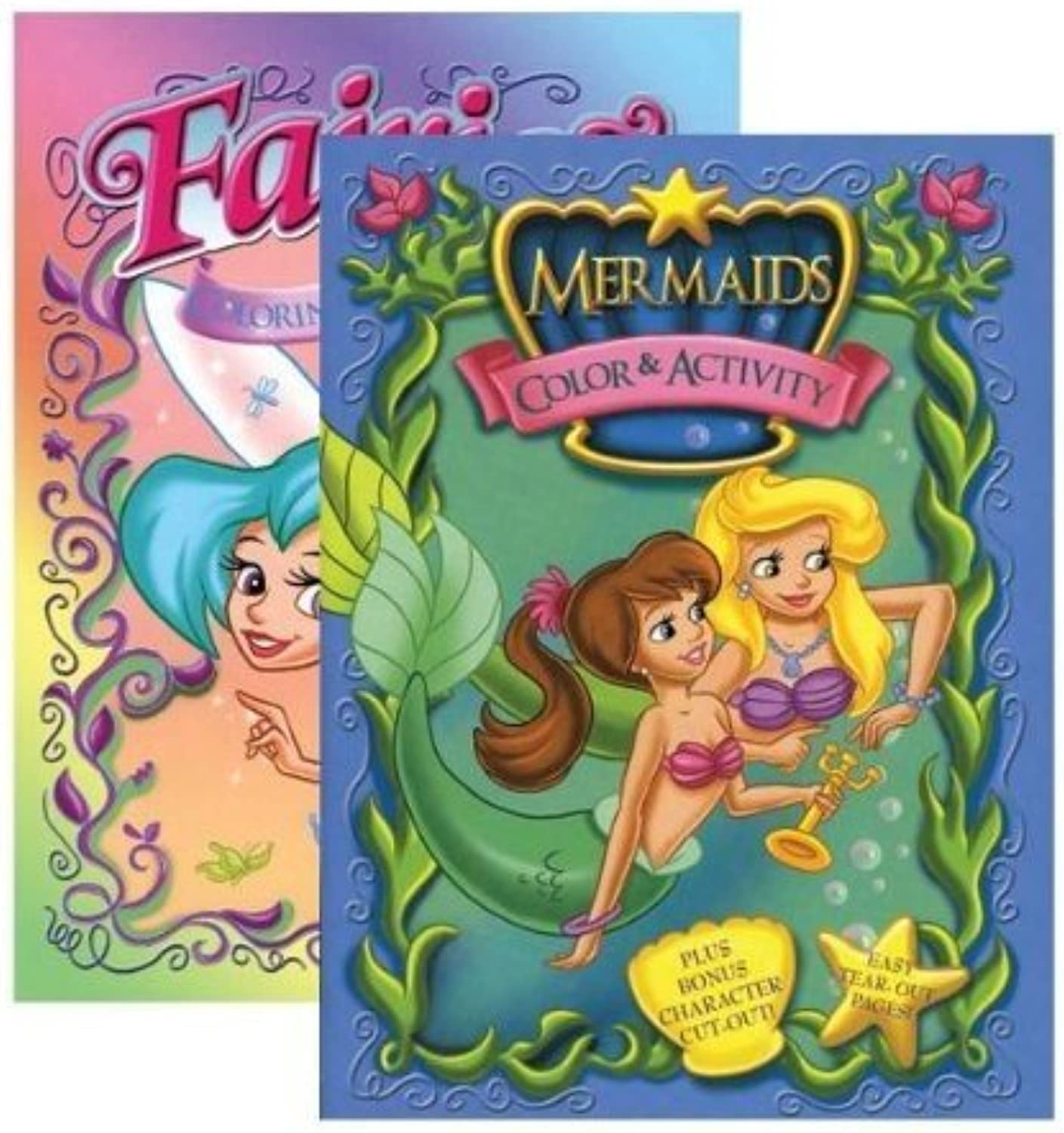 JUMBO FAIRIES   MERMAIDS coloring & Activity Book, Case Pack 48 by Bazic