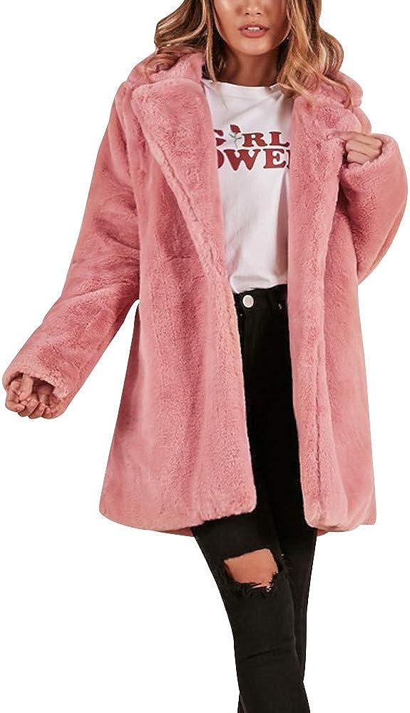 Women Solid Color Open Front Faux Fur Parka Winter Long Warm Coat