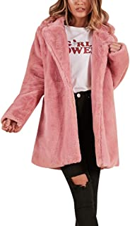 HOSOME Women Faux Fur Coat Winter Womens Warm Long Jacket Parka Outerwear Tops