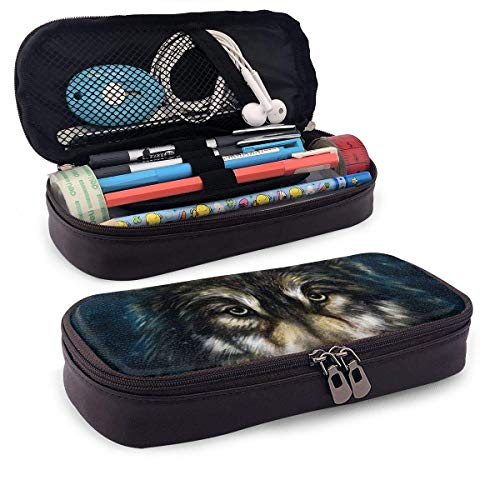 XCNGG Kosmetiktasche mit Federmäppchen Animal Wolf Head Painting Pencil Case Big Capacity Pen Case Desk Organizer with Zipper - 8x3.5x1.5 Inches