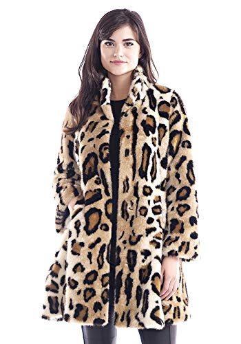 Donna Salyers' Fabulous-Furs Graphic Leopard Faux Fur Swing Coat (XS) (Leopard)