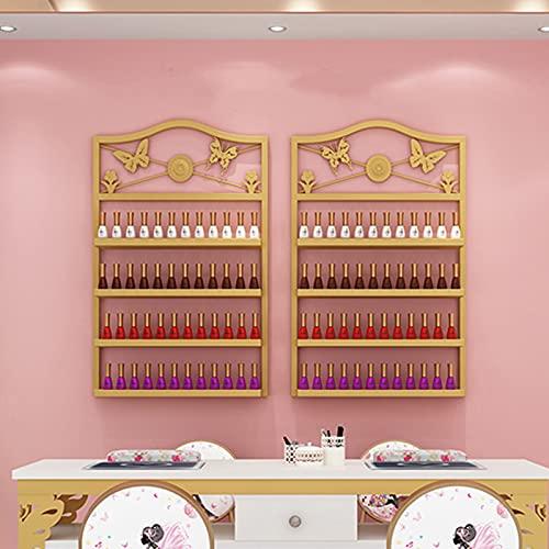 Estante de exhibición de uñas de metal de 4 capas montado en la pared, estante de almacenamiento de cosméticos y perfumes de esmalte de uñas, estante de exhibición de belleza de salón, estante de de