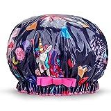 Waterproof Reusable Child Shower Caps 100% Cotton Print Bath Caps Hat Perfect for Toddler (Unicorn)