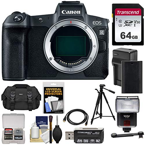 Canon EOS R Full Frame Mirrorless Digital Camera Body with 64GB Card + Battery & Charger + Case + Tripod + Flash + Kit