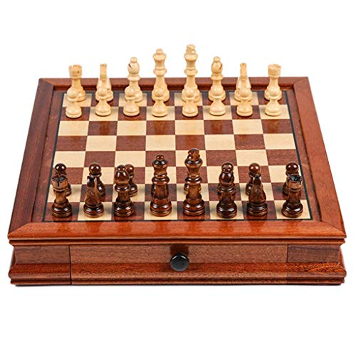 NMDCDH Juego de ajedrez de Viaje magnético, Madera Maciza con ajedrez de cajón, Regalo para Amantes del ajedrez de Viaje y aprendices Juego de ajedrez para Principiantes (tamaño: M)