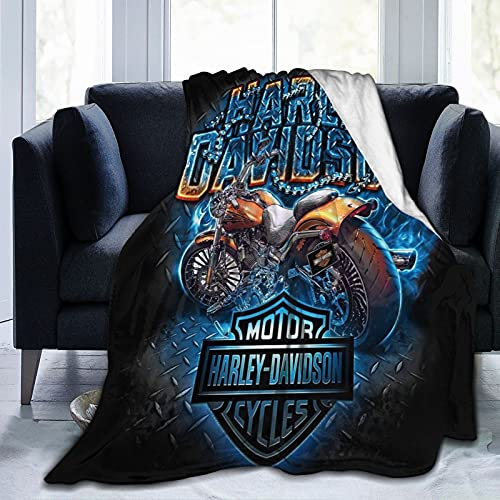 Harley Davidson - Manta de microfibra ultrasuave, ligera y ligera para niños, niñas y adultos, impresión 3D, perfecta para sofá, cama, color negro 50 x 60