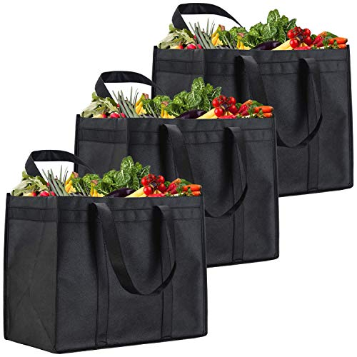 NZ Home XL Reusable Grocery Shopping Bags, Heavy Duty Shopping Tote, Stands Upright, Foldable, Washable (Black 3 Pack)