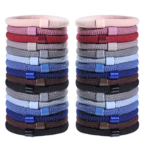 SYGY 40pcs Hair Ties, Elastic Assorted Hair Bands for Thick & Thin Hair, Perfect Ponytail Holder, No Damage Hair Accessories for Girls Women (10 Colors)