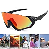 Gafas de sol deportivas antideslumbrantes para hombres Mujeres Gafas de sol polarizadas anti-UV con 3 lentes de intercambio y estuche de almacenamiento EVA para ciclismo Correr Golf Conducir,Rojo