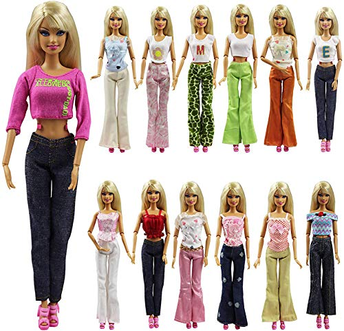 K.T. Fancy Set of 5 Quality Handmade Blouse + Trousers Pants Outfit Casual Wear for 11.5 Inch Doll Clothes Xmas Birthday Gift Present