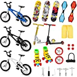 Suilung 25 Pieces Mini Finger Toys Set Finger Roller Skates Finger Pant Finger Skateboards Finger Bikes Scooter Tiny Swing Board Fingertip Movement Party Favors Replacement Wheels and Tools