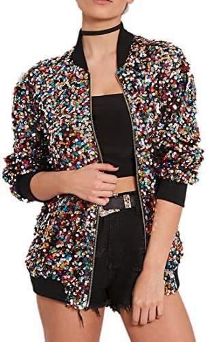 Cresay Women s Sequin Fitted Long Sleeve Zipper Blazer Bomber Jacket Rainbow XL product image