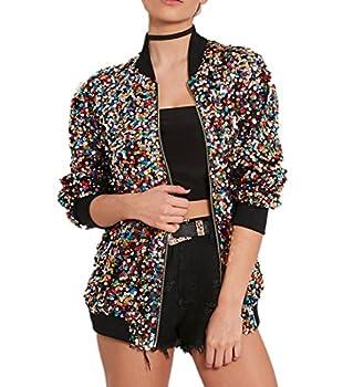Cresay Women s Sequin Fitted Long Sleeve Zipper Blazer Bomber Jacket-Rainbow XXL