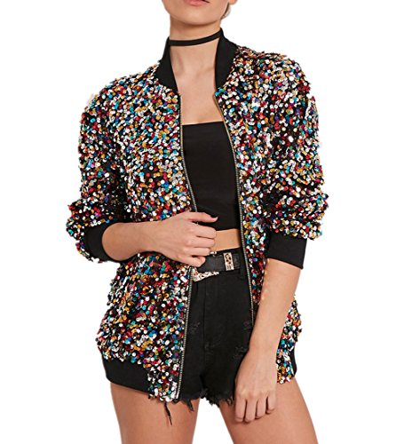 Cresay Women's Sequin Fitted Long Sleeve Zipper Blazer Bomber Jacket-Rainbow XL