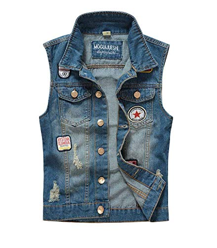 Herren Weste Slim Fit Jeansweste Cowboy Weste Modernas Lässig Rmellose Jeansjacke Zerrissene Jeansweste Fashion Denim Vest Waistcoat (Color : Blau, Size : L)