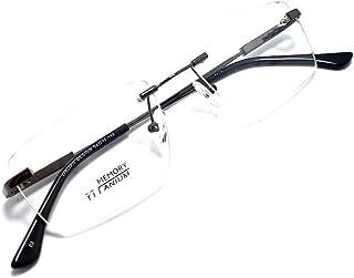Armação Óculos Titanium Metal Sem Aro Com Lentes Sem Grau