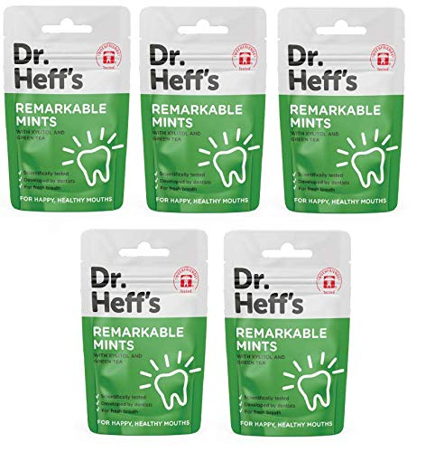Dr Heff's Mints, Fights Tooth Decay & Sugar Free - with Green Tea Extract and Peppermint. Xylitol-Sweetened — (5 x 30 Mint Packs)