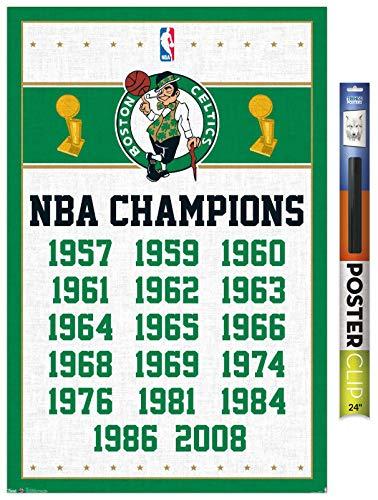 Trends International NBA Boston Celtics - Champions 13 Wall Poster, 22.375' x 34', Premium Poster & Clip Bundle