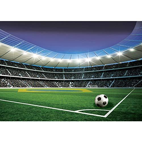 Vlies Fototapete PREMIUM PLUS Wand Foto Tapete Wand Bild Vliestapete - Fußball Stadion Tribüne Fußballfeld Lichter Flagge Brasilien - no. 1970, Größe:254x184cm Vlies
