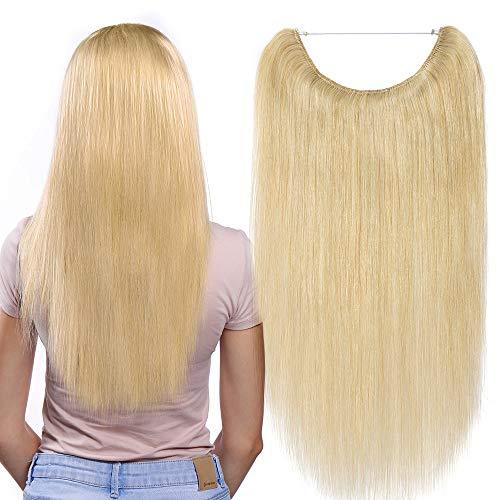 Extensions Echthaar mit Unsichtbarer Draht Natürlich Blond - Haarverlängerungen Haarteile Glatt Haarverdichtung Keine Clip 16