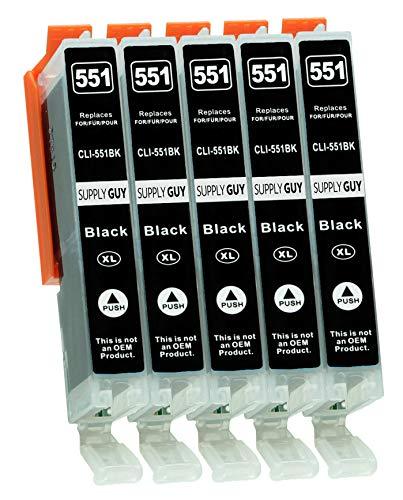 Supply Guy 5 Druckerpatronen mit Chip kompatibel mit CLI-551 BK Photoschwarz für IP-7250 IP-8750 IX-6850 MG-5450 MG-5550 MG-5650 MG-5655 MG-6350 MG-6450 MG-6650 MG-7150 MG-7550 MX-725 MX-925