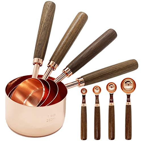 Stainless Steel Measuring Cups and Spoons - Set of 8 Cooper Measuring Cups and Spoons Set with Walnut Wood Handle Nesting Measuring Cup Set for Dry and Liquid Ingredients Rose Gold