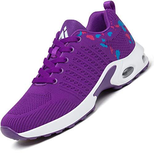 Mishansha Air Zapatillas de Running Mujer Respirable Zapatos de Deportes Femenino Ligeros Calzado Casual Caminar Sneakers Morado, Gr.37 EU