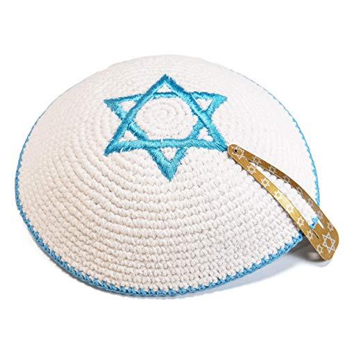 Gebreid 17 cm Witte Magen David Kippah Joodse Kipa Israël Vlag Yarmulke Synagoge