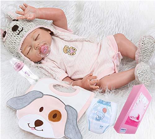 Reborn Baby Dolls Silicone Full Body Girl Sleeping 20' Realistic Baby Reborn Dolls Real Baby Doll Washable Eyes Closed