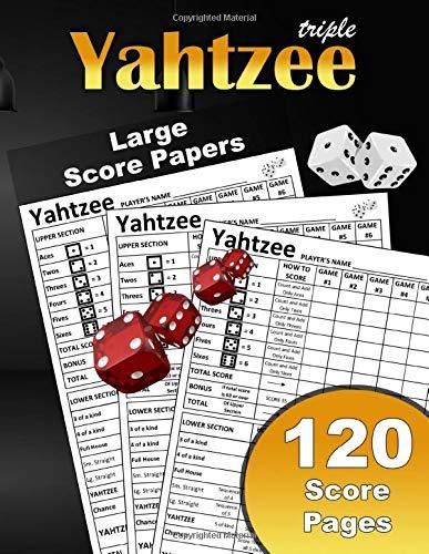 Large Triple Yahtzee Score Papers: Large Print Size 8.5X11 In 120 Sheets | Sheets Of Yahtzee Score Cards | Yahtzee Comfortable Score Pad | Yatzee Game ... Yahtzee To Go Score Pads | Yahtzee Score Logs