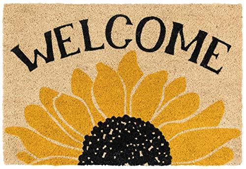Kosas Home Sonntag Morning Fußmatte, 24 x 36 cm, Schwarz/Gelb mit Fußboden aus Kokosfaser