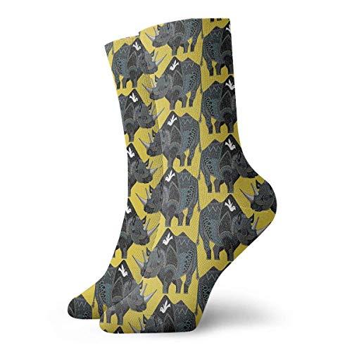 Dibujos animados de rinoceronte Hombres Mujeres Calcetines de tripulacin Algodn casual Deporte Correr largo Tobillo Soporte Calcetines Regalos Calcetines unisex Calcetines de sudor Calcetines transp