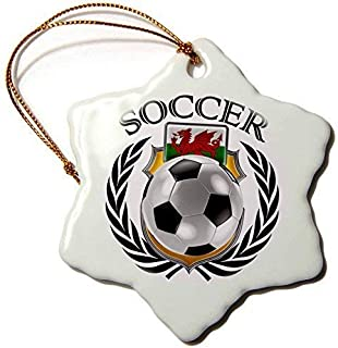 Mesllings Carsten Reisinger - Illustrations - Wales Soccer Ball with Fan Crest - Snowflake Porcelain Ornament