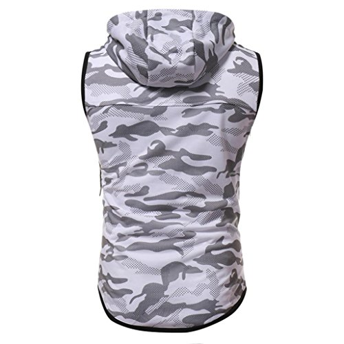 Pingtr Men's Slim Fit Muscle T Shirts, Men's Summer Camouflage Print Hooded Sleeveless T-Shirt Sports Athletic Running Jogging Gym Fitness Exercises Tee Tops Vest Blouse (White, M)