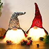 Juegoal 12' Lighted Christmas Gnome, Handmade Sequins Hat Scandinavian Swedish Tomte, Light Up Plush Elf Toy Holiday Present, Battery Operated Winter Tabletop Christmas Decorations, 2 Set