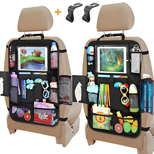 Car Seat Organizer, Backseat Car Organizer with Touchable Tablet Holder , 12 Storage Pockets, 2 Hooks, Earphone Hole Design, 2 Backup Bags, Kick Mats Car Organizer Back Seat (2 Pack)