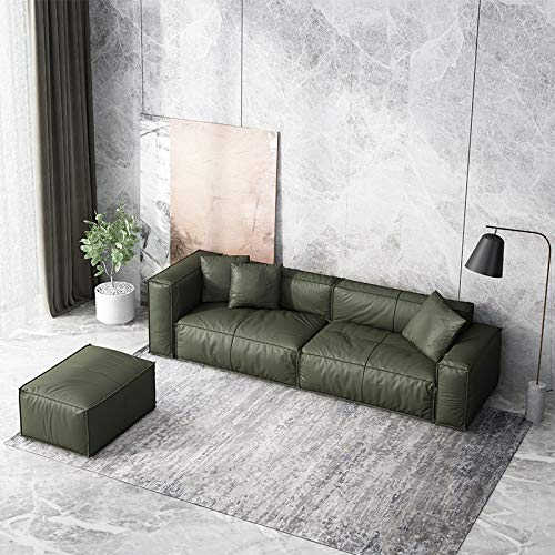 Italian Style Minimalist Leather Sofa Head Layer Cowhide Three Person Position Nordic Industrial Style Small Family Living Room Light Luxury Leather Sofa