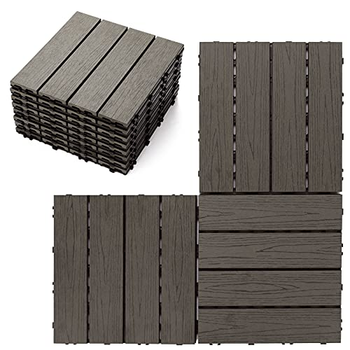 Wood Plastic Composites Deck Tiles, Four Sides Interlocking Design, Easy to Install, Waterproof Corrosion Resistant, Apply to Indoor&Outdoor Flooring Decor (Coffee1-8PCS 11.8